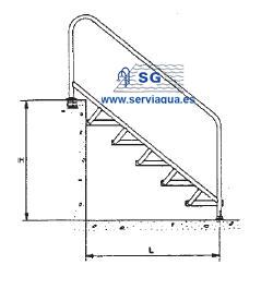 Material exterior de piscinas escalera para acceso for Escalera discapacitados