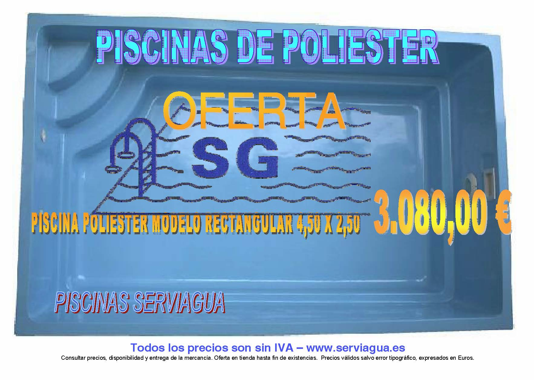 Piscina rectangular de poliester 4 50 x 2 50 x 1 40 for Piscina 4 x 2
